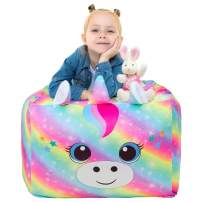 ICOSY Stuffed Animal Storage Bean Bag Chair Cover for Kids Plush Toy Storage Organizer Teen Stuffed Toy Bean Bags Unicorn Gifts for Girls