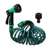 Recoil Garden Hose 25FT EVA Water Hose with 7-Pattern Spray Nozzle,3/8 inch Self Coiling Lightweight Garden Hose,Lead Free Retractable Drinking Water Safe Garden Coil Hose for Lawn Patio (Green)