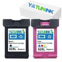 YATUNINK Remanufactured Ink Cartridge Replacement for HP 62XL Ink Cartridges Fit Envy 5640 5642 5643 5644 5646 5660 7640 7645 OfficeJet 5745 OfficeJet 5740 OfficeJet 5742(1 Black + 1Tri-Color,2 Pack)