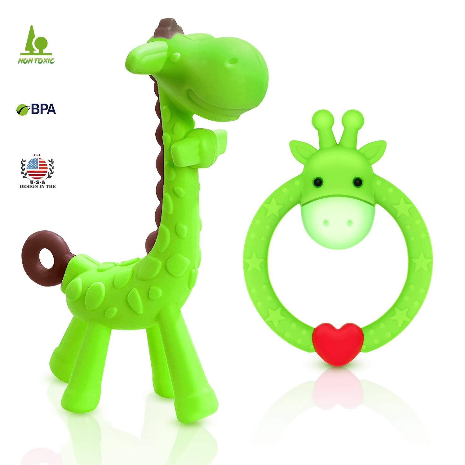 SHARE&CARE BPA Free 2 Silicone Giraffe Baby Teether Toy with Storage Case, for 3 Months Above Infant Sore Gums Pain Relief, Set of 2 Different Teething Toys (Green)