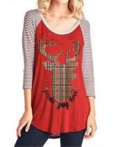 Sweetnight Womens Long Sleeve Raglan Christmas Baseball Shirts Xmas Elk Print Tunic Tops