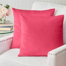The Connecticut Home Company Velvet Throw Pillow Cases, Set of 2, Decorative Case Sets, Many Colors, Pillow Covers, Luxury Pillowcases for Kids Playroom, Bedroom, Couch, Sofa, Bed 16x16, Bright Pink