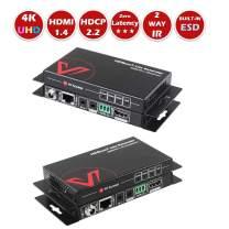AV Access HDMI Extender(HDBaseT), 4K@60Hz Over Single Cat5e/6a, 70m/230ft 1080P, 40m/130ft, PoE IR RS232 HDCP2.2, HDR, Dobly Vision, 3D, Dolby Atmos & DTS:X, CEC, Uncompressed Transmission