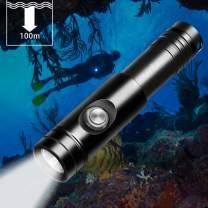 Odepro WD12 Scuba Diving Flashlight 3 Modes 1050 Lumen Underwater 150m Waterproof Scuba Lights with Battery Indicator, 2pcs 3000mAh 18650 Battery, Battery Charger