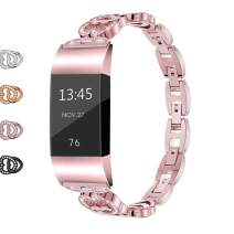 Wekin Replacement Metal Bands Compatible for Fitbit Charge 2 and Charge 2 HR, Adjustable Fashion Bling Rhinestone Smart Watch Accessory Wristband Bracelet Strap for Charge 2 Tracker (Rose Pink)