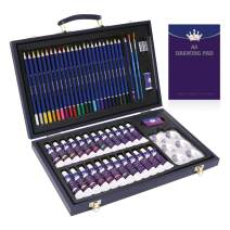Professional Art Set,56 Piece Deluxe Art Set in Portable Wooden Case-Art Supplies for Painting & Drawing,Deluxe Art Kit for Kids, Teens and Adults/Gift