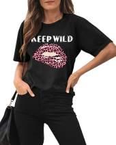 Maisolly Women's Summer Short Sleeve Leopard Lip Graphic T Shirt