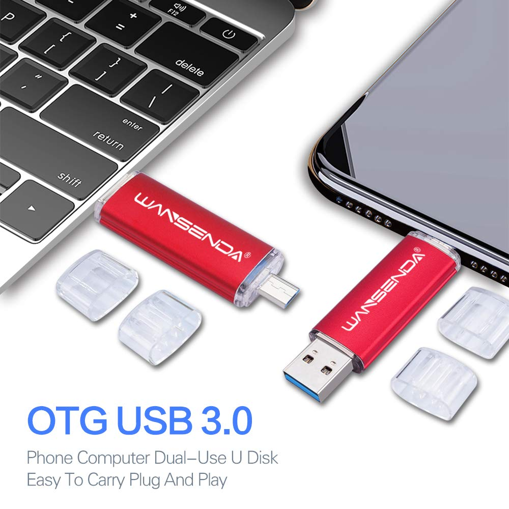 OTG USB Flash Drive Wansenda 2 in 1 USB 3.0 & Micro Port Pen Drive 32GB USB Memory Stick for Android Devices/PC/Tablet/Mac (32GB, Red)