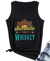 Sunshine and Whiskey Tank Tops Women Country Shirt Beach Party Tanks Casual Workout Funny Summer Sleeveless Tee Tops