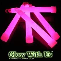 "Glow Sticks Bulk Wholesale, 100 6"" Industrial Grade Pink Light Sticks. Bright Color, Glow 12-14 Hrs, Safety Glow Stick with 3-Year Shelf Life, GlowWithUs Brand"
