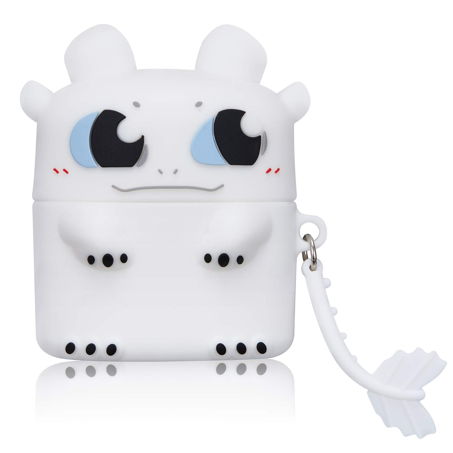 Gift-Hero White Toothless Case for Airpods Pro/for Airpods 3, Cartoon Cute Funny Design for Girls Boys Kids, Unique Carabiner Protective Fun Fashion Character Skin Soft Silicone Cover for Air pods 3