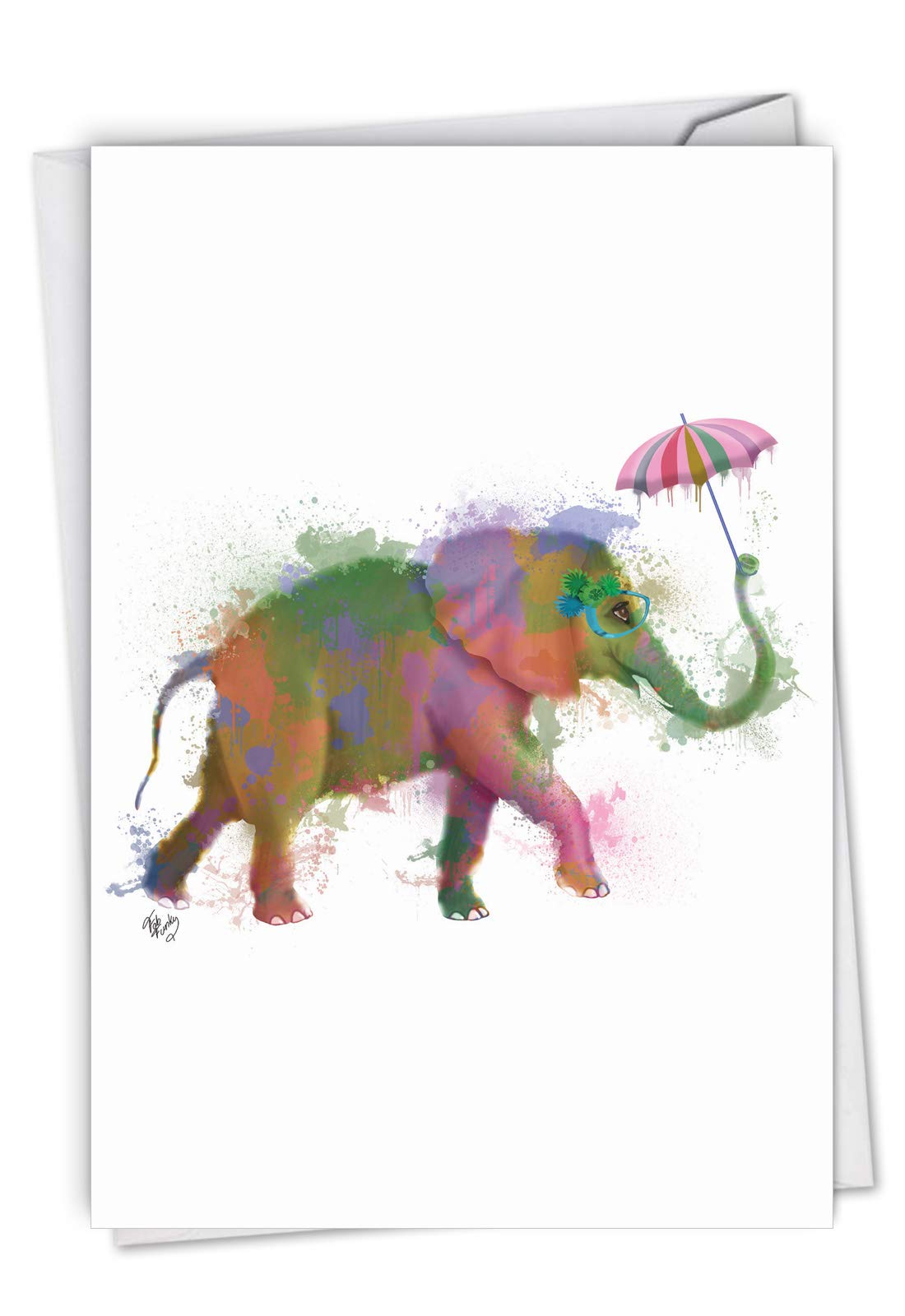 The Best Card Company, Funky Rainbow Wildlife Elephant - Belated Birthday Card with Envelope - Watercolor Bday Greeting C4948JBDG-BE