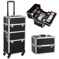 Gotobuy Rolling Makeup Artist Train Case Lockable 3 in 1 Makeup Organizer Makeup Beauty Nail Case Cosmetics Trolley Bag Travel Box Nail Stuff Techinician Black
