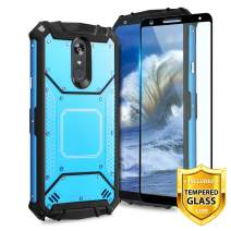 TJS Phone Case LG Stylo 4/LG Stylo 4 Plus/LG Q Stylus/LG Q Stylus Plus/LG Q Stylus Alpha, with [Full Coverage Tempered Glass Screen Protector] Aluminum Magnetic Support Metal Plate Back (Blue)