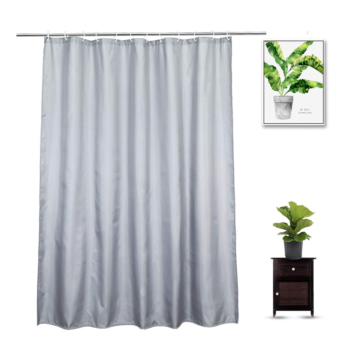 Gray Shower Curtain Liner 72 x 78 Inch, Luxury Water Repellent Washable Cloth Extra Long Shower Curtains with 12 Rust-Proof Metal Grommets, Hotel Quality, Light Gray