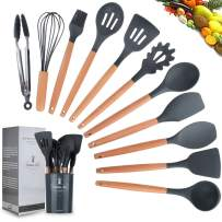 Wonninek Silicone Kitchen Utensil Set - 11Pieces Wooden Handles Kitchen Gadgets, Scratch Resistant Kitchen Utensil Set, Turner Tongs Spatula Spoon Nonstick Cooking Utensils, BPA Free (Gray)