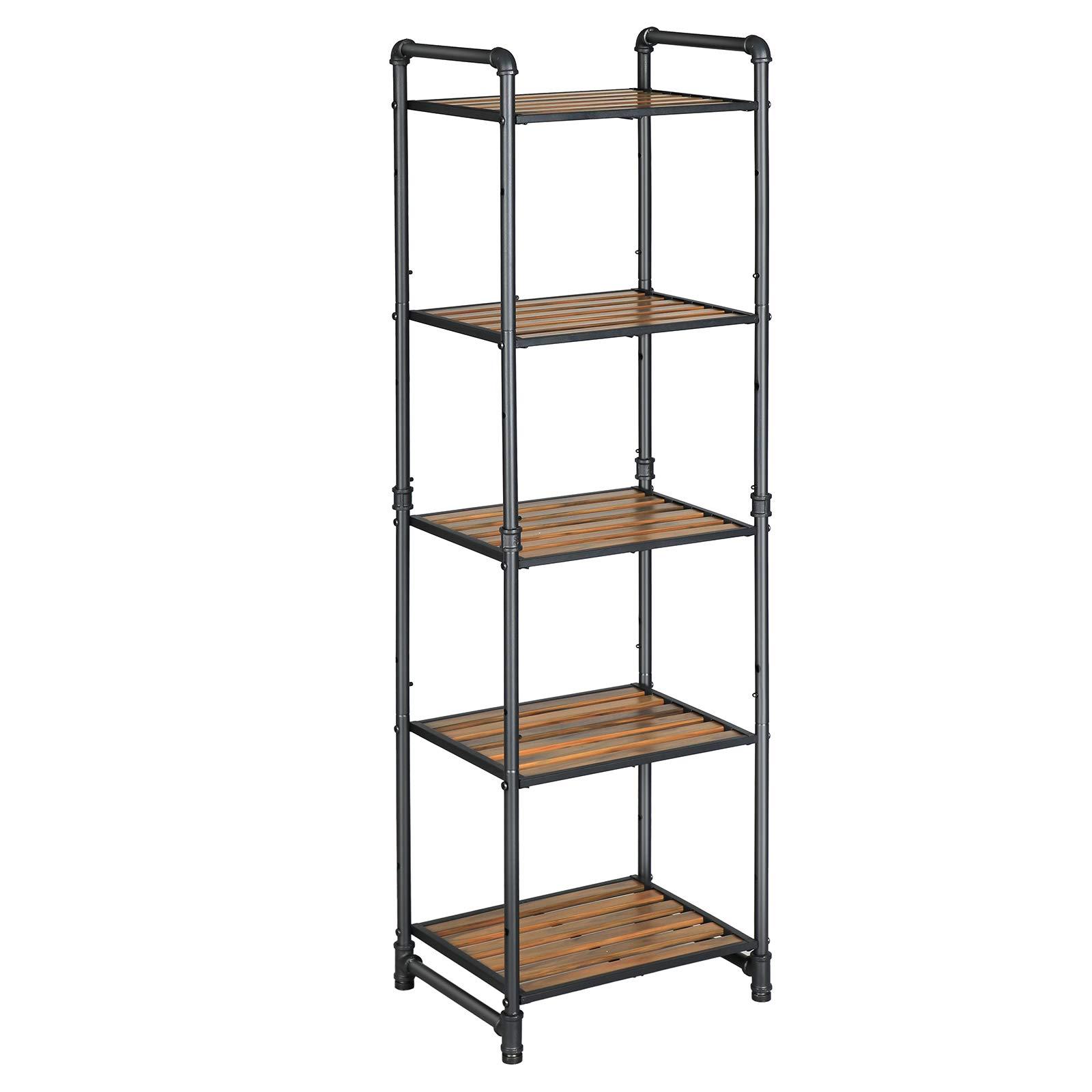 VASAGLE Bathroom Shelf, 5-Tier DIY Storage Rack, Industrial Style Extendable Plant Stand with Adjustable Shelf, for Living Room, Bathroom, Balcony, Kitchen, Rustic Look UBSC25BX