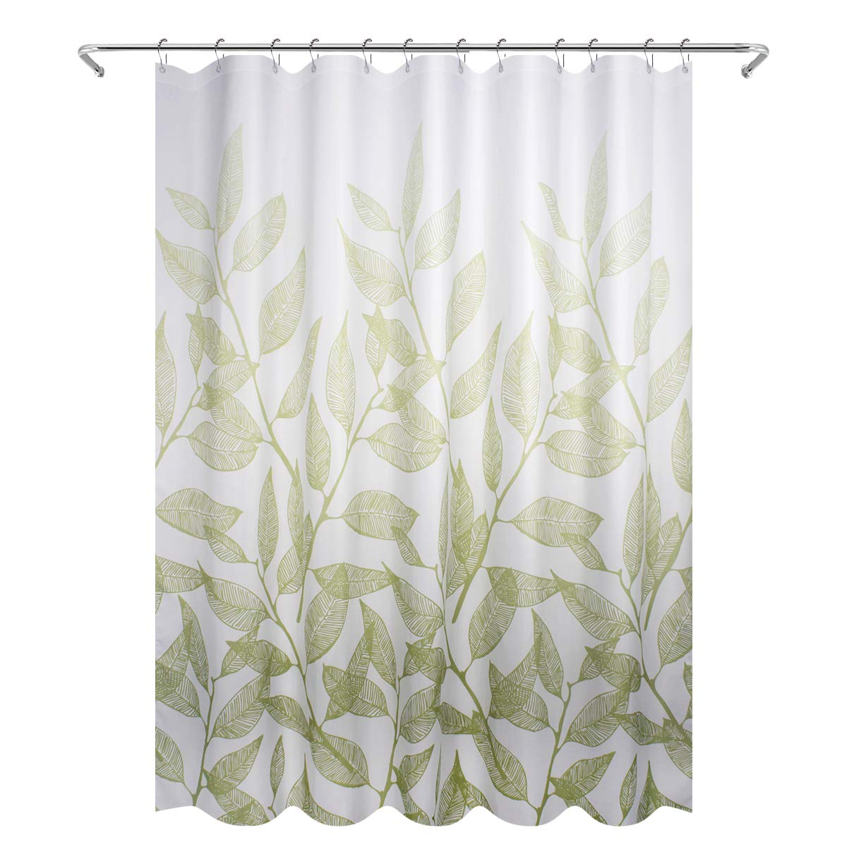 Eforgift Polyester Bathroom Shower Curtain Water Repellent Fabric Bath Curtain Elegant Spring Green Leaves with Rust-Proof Grommets, Extra Wide 72-inch by 78-inch