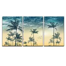 "wall26 - 3 Piece Canvas Wall Art - Vector - Tropical Palm Tree Scene at Sunset or Sunrise Highly Detailed and Editable - Modern Home Decor Stretched and Framed Ready to Hang - 24""x36""x3 Panels"