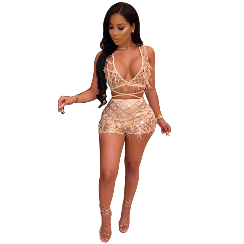 ECHOINE Womens Sparkle 2 Piece Outfits - Sexy Deep V Neck Bandage Jumpsuit Party Clubwear