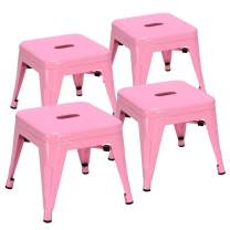 Costzon Kids Stackable Metal Stools w/Safety Rounded Corners & Rubber Pads, Children Portable Steel Stools for Kindergarten School Classroom, Toddlers Stepping Stool for Kitchen (Pink, Set of 4)