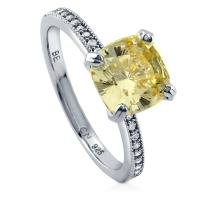 BERRICLE Rhodium Plated Sterling Silver Canary Yellow Cushion Cut Cubic Zirconia CZ Solitaire Engagement Ring 3.11 CTW