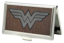 Buckle-Down Business Card Holder - Wonder Woman Logo Marquetry Black Walnut/Metal - Small