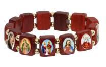 Catholica Shop I Catholic Religious Bracelets with Assorted Colored Images of Catholic Saints I Wooden Stretchable Bracelet I Catholic Presents Bracelets I Religious Bracelet