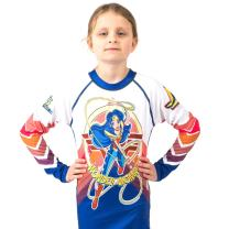 Fusion Wonder Woman Kids Rash Guard Compression Shirt- Long Sleeve