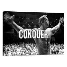 "Arnold Schwarzenegger Conquer Motivational Wall Art Pictures Inspirational Entrepreneur Quotes Posters Prints on Canvas Inspiring Office Gym Wall Decor Painting Artwork Home Decoration - 12""Hx18""W"