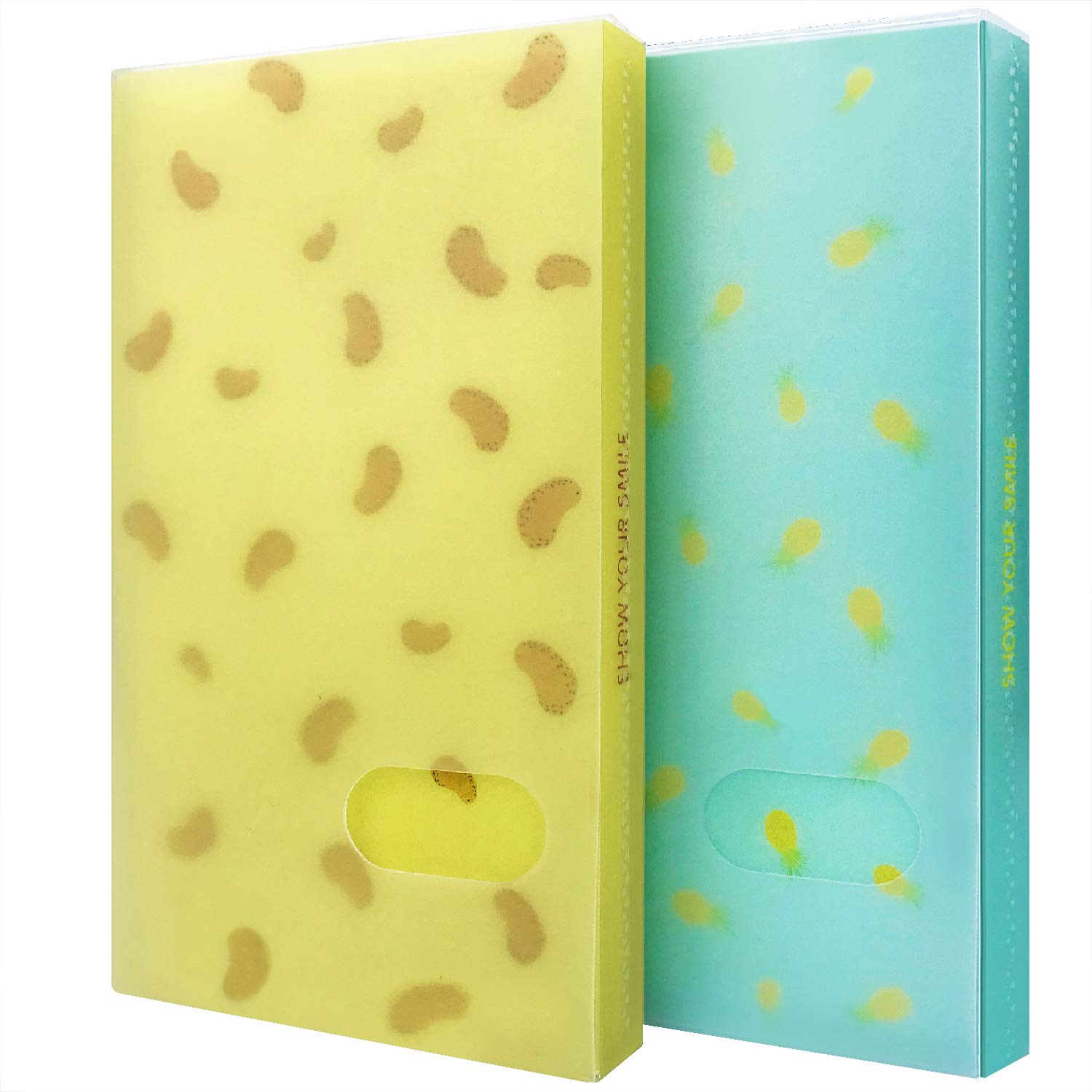 Initial heart Business Card Book Holders 2 Pack Color Name Card Book Rack Book Case Organizer ID Cards Personal Cards Credit Cards Photo Album LOMO Cards Storage 96 Pockets (Mango-Pineapple)