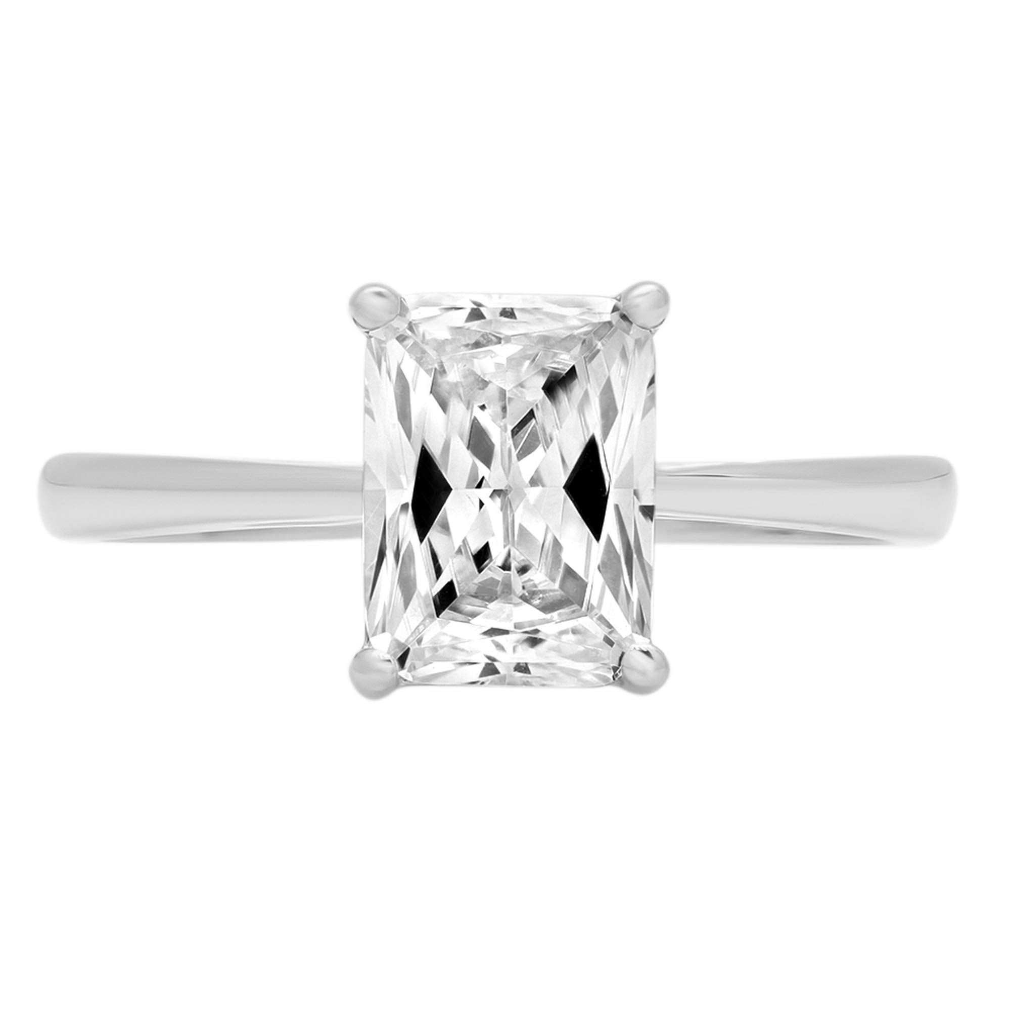 1.95ct Brilliant Emerald Cut Solitaire Highest Quality Lab Created White Sapphire Ideal VVS1 D 4-Prong Classic Designer Statement Ring Solid Real 14k White Gold for Women