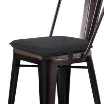 baibu Super Soft Metal Dining Chair Pads Bar Stool Cushion with Ties for Metal Chairs or Bar Stools - Cushion Only (Black, 14x14x1.5in)