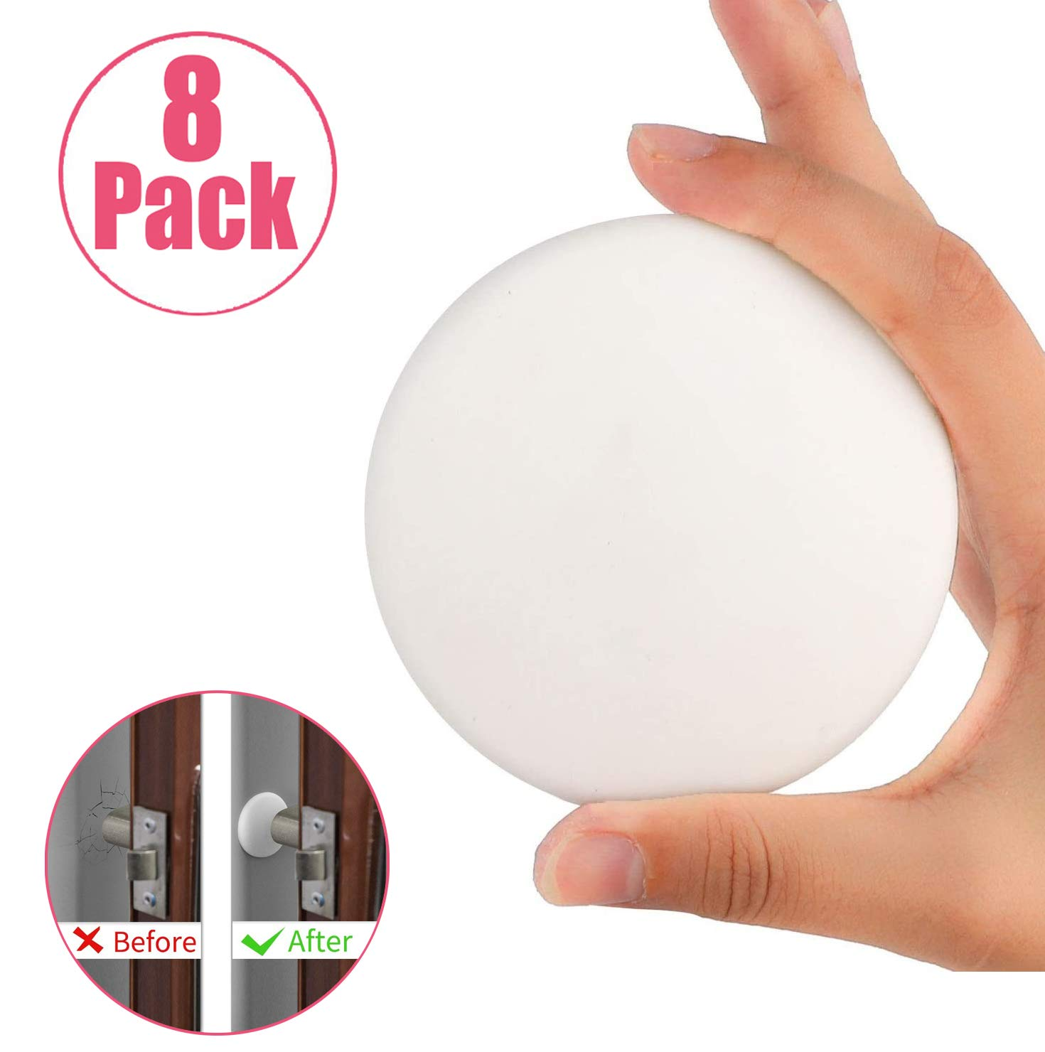 Door Stopper Wall Protector,8 Pack 3.15 Inch Round Door Knob Silicon Wall Guard Shield Protector