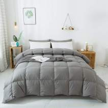 WhatsBedding 100% Cotton Down Comforter Goose Duck Down and Feather Filling, Grey Down Comforter King. All Season Duvet Grey Insert or Stand-Alone Down Comforter (Dark Gray Comforter King)