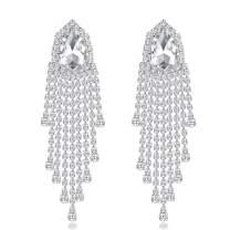 mecresh Silver Rhinestone Crystal Bridal Chandelier Long Tassels Dangle Earrings for Wedding