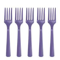 Premium Heavy Weight Plastic Forks   New Purple   Pack of 48   Party Supply