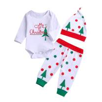 Christmas Toddler Baby Boy Girl Clothes My 1st Christmas Romper Top Deer Print Pant with Hat Set