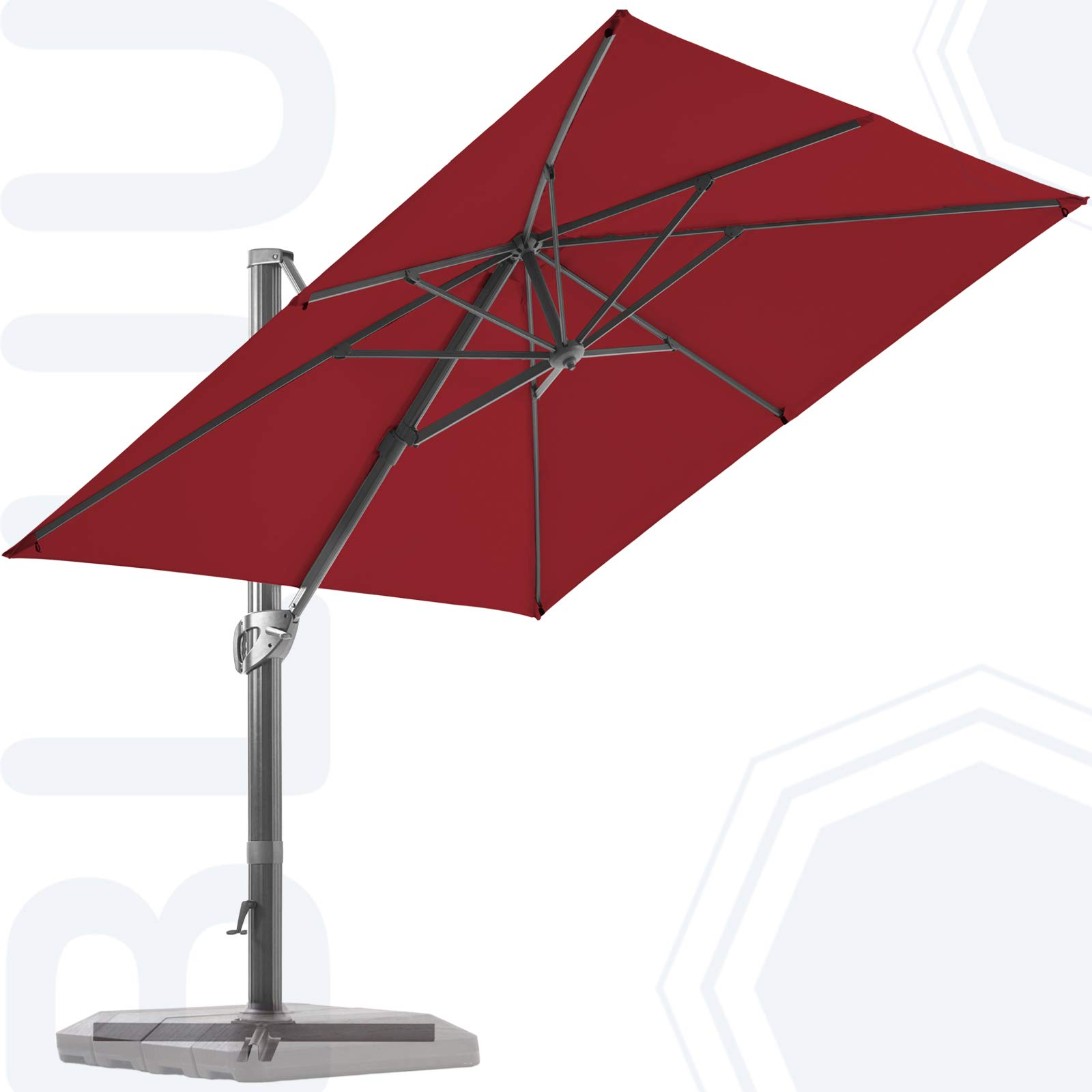 BLUU 10 FT Square Patio Umbrella Offset Cantilever Outdoor Umbrella Aluminum Market Hanging Umbrellas with 360° Rotation Device and Unlimited Tilting System & Cross Base (Burgundy)