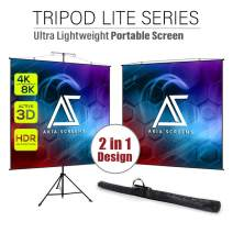 Akia Screens 96 inch 2 in 1 Portable Pull Down Projector Screen with Tripod Stand 4:3 16:9 8K 4K HD Black Wall Mount Projection Screen with Bag for Indoor Outdoor Movie Home Theater Office AK-T96SLITE
