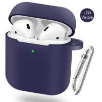 EYEKOP AirPods Case, Upgraded Silicone AirPods Cover Skin with Keychain (Deep Blue)