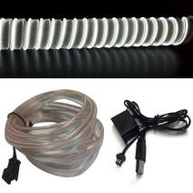 M.best El Wire USB Neon Light for Automotive Interior Car Decoration with 6mm Sewing Edge (5M/15FT, White)