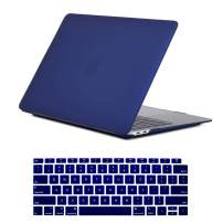 Se7enline 2018/2019 New MacBook Air 13 Inch Case Smooth Matte Frosted Plastic Hard Shell Case & Keyboard Cover for MacBook Air 13-Inch Retina Display with Touch ID Version A1932, Navy Peony/Blue