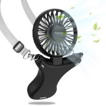 FUNME Handsfree Battery Fan 3350mAh USB Necklace Fan Up to 17 Hours of Use Rechargeable Personal Handheld Fan 3 Speeds Foldable Built-in Soft Light for Outdoors Travelling Indoor, Black