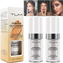 TLM Colour Changing Foundation Makeup for Women Girl All Day Flawless Foundation Concealer With SPF 15 30ml Beauty Lightweight Liquid Base Makeup Cream Moisturizing Organic Face Concealer 2PCS