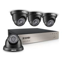 ZOSI 4Channel 720P HD DVR CCTV Home Security System with 4X Indoor/Outdoor Color Dome Cameras NO Include Hard Disk (65ft(20m) IR Night Vision,3.6mm Lens, Smartphone& PC Easy Remote Access)