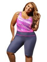 GLUDEAR Women Plus Size Print One Piece Boyleg Athletic Wetsuits Swimsuit M-4XL
