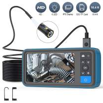 """Pipe Sewer Inspection Camera, Dual Lens 1080P Industrial Endoscope, 4.5"""" Screen Waterproof Borescope Snake Camera with 6 LED, 16.4FT Semi-Rigid Cable Endoscope, 2500mAh Battery, 32GB TF Card"""