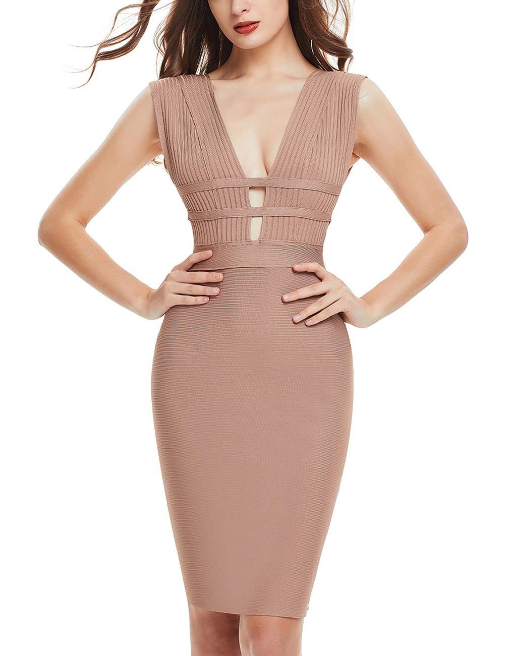 FLYCOOL Women's Sexy Slim Bodycon Backless Club Deep V Bandage Sleeveless Dress