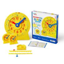 hand2mind Magnetic Demonstration Number Line Clock for Kids Ages 5-10, Turn A Number Line Into A Clock, Teacher Supplies for Classroom (1 Demo Clock and 24 Mini 4 Inch Clocks)